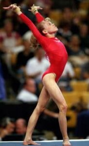 18 Aug 2000: Morgan White is doing her routine in the Floor Exercise Event during the U.S. Women's Olympic Gymnastics Trials at the Fleet Center in Boston, Massachusetts.Mandatory Credit: Matthew Stockman /Allsport